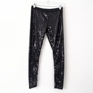 Black sequin stretchy leggings medium